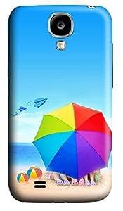 Samsung S4 Case Beach Umbrellas And Paper Airplane 3D Custom Samsung S4 Case Cover WANGJING JINDA