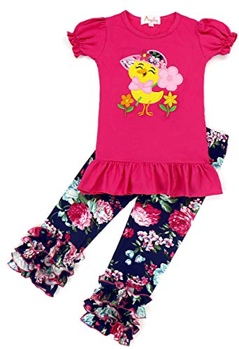 Boutique Baby Girls Easter Chick Ruffles Capri Outfit Set Fuchsia/Navy 18-24M]()