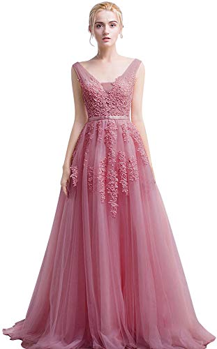 (Oxiuli Fashion Women's Double V-Neck Lace Applique Tulle Wedding Gown Dresses (Dusty Pink,12))