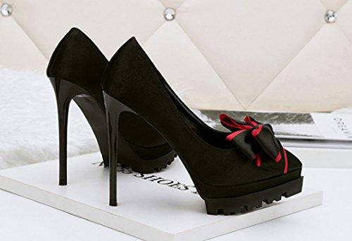 de 39 coréenne pointu Mode hauts mode chaussures femmes sexy talons Couleur taille boîte Noir satin fleurs nuit pour de Rouge Uw8qxd8