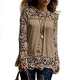 Women Plus Size Hollow Out Lace Splice Long Sleeve Shirt Casual Blouse Loose Top(Khaki,Medium)