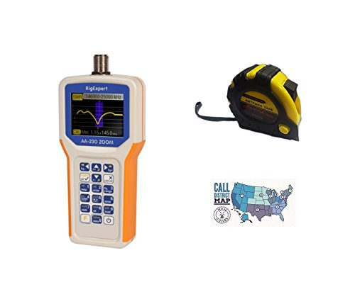 Bundle – 3 Items – Includes RigExpert AA-230 ZOOM Antenna Analyzer 100kHz up to 230MHz with the New Radiowavz Antenna Tape (2m – 30m) and HAM Guides Quick Reference Card For Sale