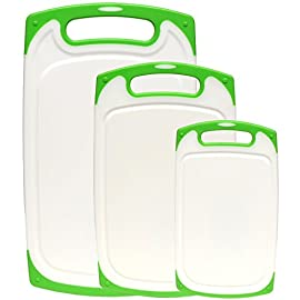 Dutis 3-Piece Dishwasher Safe Plastic Cutting Board Set with Non-Slip Feet and Drip Juice Groove, White with Lime Green 16 Dishwasher safe cutting board, the cutting boards will not warp or degrade. Easy to clean and maintain All cutting boards have rubber feet which make them convenient and safe non-slip cutting boards. You will never have to worry about your cutting boards sliding while youre chopping food. A set of 3 cutting boards in three different sizes. Large 16 x 10, Medium 13 x 8, and Small 10 x 6. Each board is 1/3 thick.
