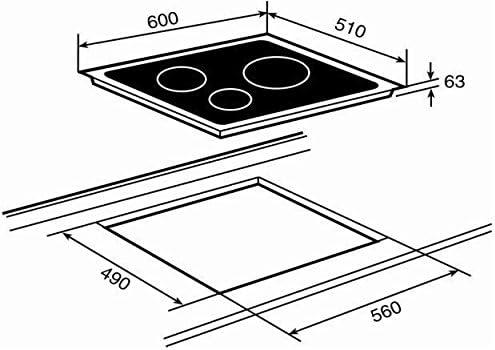 Teka TB 630 - Placa (Incorporado, Vidrio, Sensor, 5400W, 60 cm) Negro