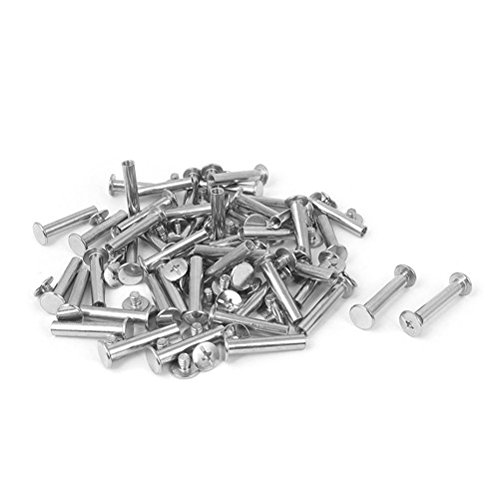 Ucland Screw Post Albums Book Nickel Plated Binding Screws Binder Posts Silver Tone 0.2 Inch x 1 Inch 50pcs