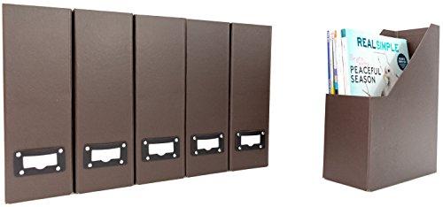 Blu Monaco Office Modern Brown Magazine File Holder Set with Leather Label Holder - Magazine File Box Set of 6 - Brown Cardboard Magazine Holder Storage Organizer Box by Blu Monaco (Image #2)