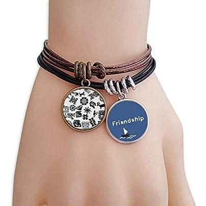 ProDIY Ancient Egypt Art Decorative Pattern Friendship Bracelet Leather Rope Wristband Couple Set Estimated Price -