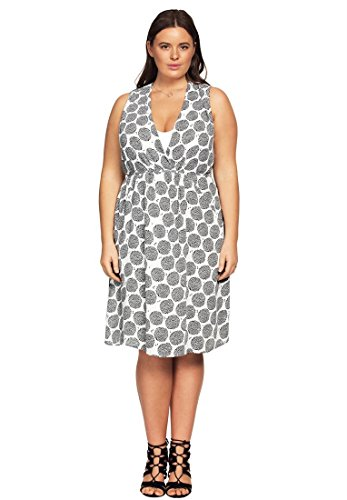 Ellos Plus Size Georgette Empire Waist Dress (White Black Print,14 - Outlet Ellos