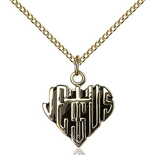 Bliss Gold Filled Heart of Jesus / Cross Pendant 5/8 x 5/...
