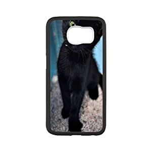 Custom Black Cat S6 Cover Case, Black Cat Customized Phone Case for Samsung Galaxy S6 at Lzzcase