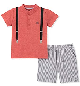 Calvin Klein Baby Boys 2 Pieces Shorts Set, Coral/Concrete, 12M
