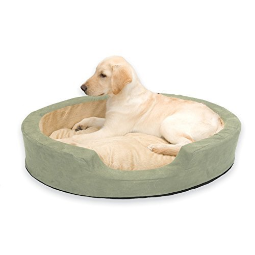 Thermo Snuggly Sleeper Oval Large Sage 31 x 24 x 5.5 (2 Pack) by K&H Manufacturing Thermo Snuggly Sleeper Sage