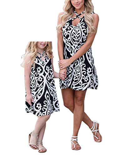 Qin.Orianna Mommy and Me Family Matching Clothes,Sleeveless and Floral Printed Sundress Outfits for Family Look (Mom 8, -