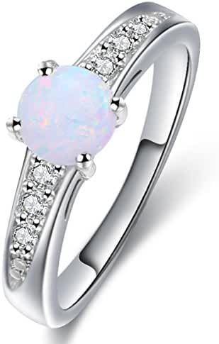 Lady Rings Created Opals AAA Cubic Zirconia Party Cocktail Trendy Jewelry Accessories Size 6 7 8 9 White