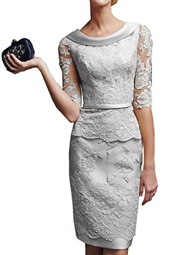 Gorgeous Bridal Short Sheath Half Sleeves Mother Of The Bride Lace Cocktail Dresses - US Size 14 Silver