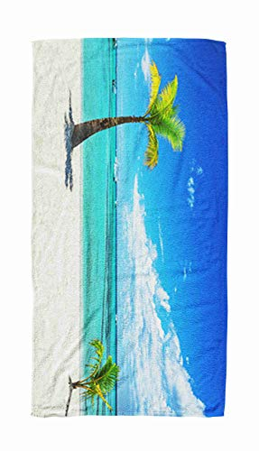 EMMTEEY Bath and Beach Towel,Panoramic Ocean Palm Tree Trees on The Tropical Beach Republic Dominican 30x60Inch Microfiber Oversized Large Quick Dry Swimming Pool Towel,Gray Black