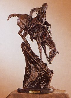 - American Handmade 100% Bronze Sculpture Statue Mountain Man By Frederic Remington Baby Size
