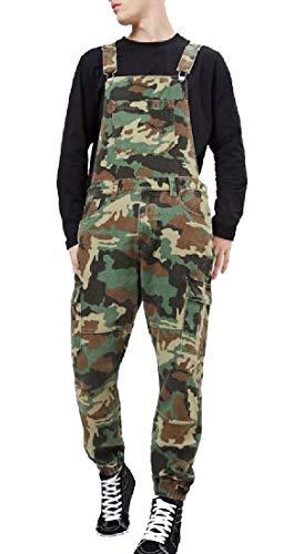 [해외]yibiyuan Men`s Fashion Denim Bib Overalls Ripped Jeans Camouflage JumpsuitPockets / yibiyuan Men`s Fashion Denim Bib Overalls Ripped Jeans Camouflage JumpsuitPockets 1 S