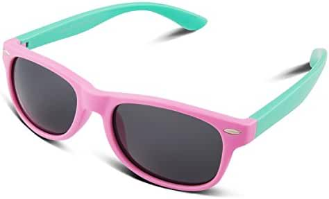 RIVBOS RBK004 Rubber Flexible Kids Polarized Sunglasses for Baby and Children Age 3-10 (Mirrored Lens Available)