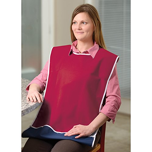 Adult Bib with Crumb Catcher - Adult Feeding Aid - Burgundy by CARE APPAREL