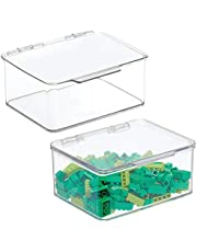 mDesign - Speelgoedbox - ideale bergruimte voor schappen/onder het bed - klein/stapelbaar/met scharnierend deksel - doorzichtig - per 2 stuks verpakt