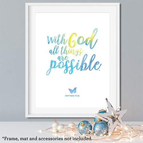 With God All Things are Possible, 11x14 Unframed Art Print, Bible Verse Wall Art, Kids Playroom Decor, Home decor gift for Christian, Baby Shower Gift ()