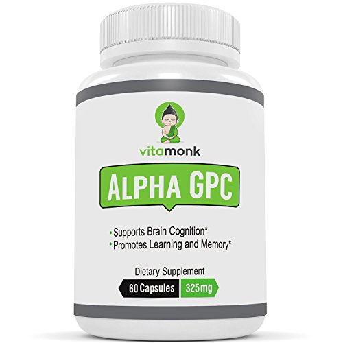 "VitaMonkâ""¢ Alpha GPC Capsules - The #1 Bioavailable Choline Supplement To Support Brain Cognition - 60 Alpha-GPC 325mg Capsules. NO Artificial Fillers"