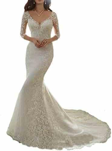 9b4a2dea877 HelloLadyBridal Womens Lace Mermaid Wedding Dresses for Bride 2019 Illusion  Back Bridal Gowns