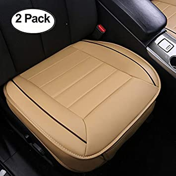 2 Pack Beige HONCENMAX Car Seat Cover Cushion Pad Mat Protector for Auto interior Supplies for Sedan SUV PU leather 3D Edge Wrapping Protection Cover Without Backrest
