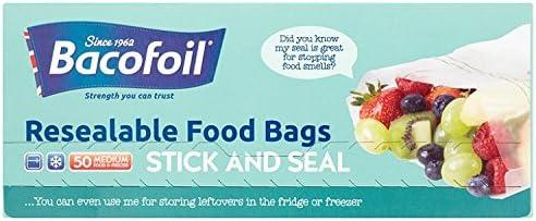 Baco Press N Seal Sandwich Bags, Pack of 50 Bags