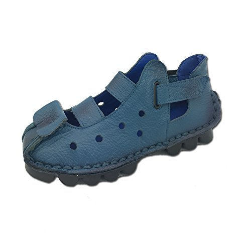 Xing Sandals Leather Bottom Handmade Soft New Sandals Sandals Female blue Flat Sandals Bottom Shoes Ladies Lin qrwHqxRUF