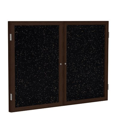 2 Door Enclosed Bulletin Board Size: 3' H x 4' W, Frame Finish: Walnut, Surface Color: Tan Speckled