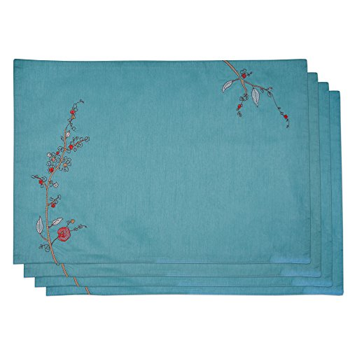 Lenox Chirp Embroidered Set of 4 Placemats, Aqua