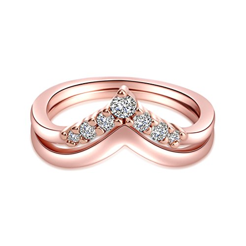 CRARINE Women's Stacking Ring Pave Cubic Zircon Eternity Promise Ring Flower Top Infinity Wedding Band - 1#Rose-gold (6)… by CRARINE (Image #1)
