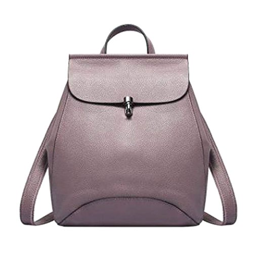 JAGENIE Leather Quality Backpack Purple Women Black Genuine PrHzwqxP1