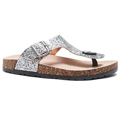 Herstyle Abella Women's Comfort Buckled Slip on Sandal Casual Cork Platform Sandal Flat Open Toe Slide Shoe PewtGlt 7.0