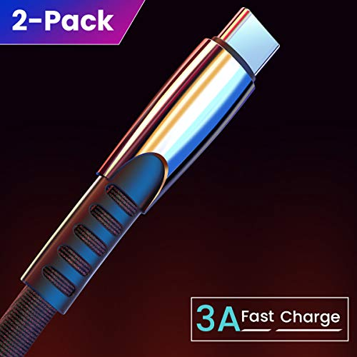 USB C Cable (3A Fast Charging) (2 Pack/6.6FT), Ainope Durable Denim Cloth Type C Cable Cord,USB-A 2.0 to USB-C Cable Charger Compatible with Samsung Galaxy S9 S8 Note 9 8, LG V20 V30 G5 G6