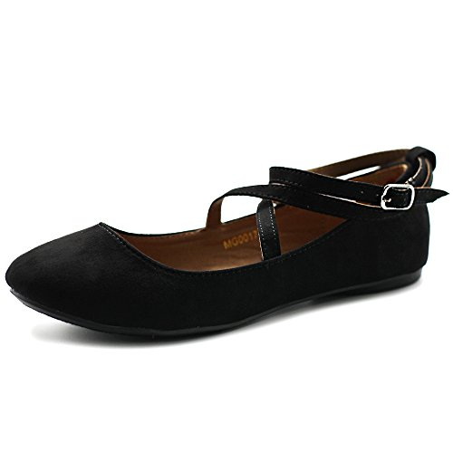 Ollio Women's Shoe Light Comfort Faux Suede Cross Strap Ballet Flats (6.5 B(M) US, Black)