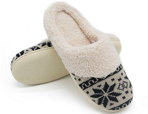 HomeTop - Zapatillas de estar por casa de forro polar para mujer Negro y beige