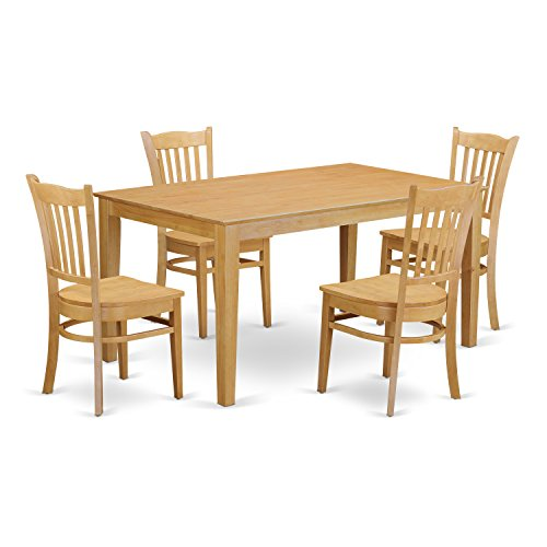 East West Furniture CAGR5-OAK-W 5 Pc Dining Room Set for 4 - Dining Table and 4 Dining Chairs from East West Furniture