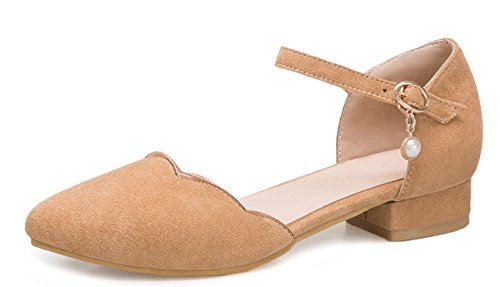 Aisun Women's New Faux Suede Pointy Toe Low Block Heels Sandals apricot