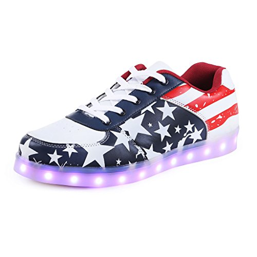 Sneakers Red Men Luminous LED Unisex SAGUARO American Sport Flag Charging Shoes Women Flashing USB q7A6OwaZ