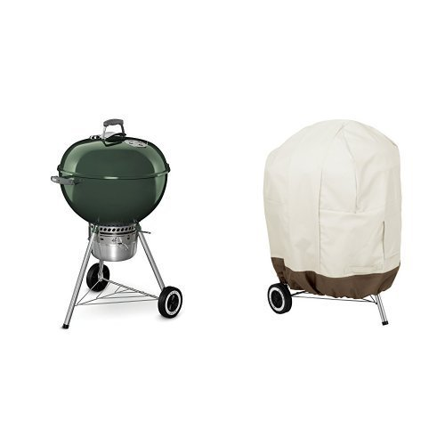 Weber 14407001 Original Kettle Premium Charcoal Grill, 22-Inch, Green & AmazonBasics Kettle Grill Cover by Weber
