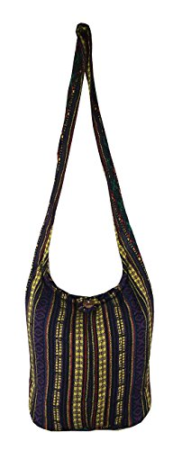 Hippie Bags Ladies Medium Hobo Boho Woven Ethnic Hippy Festival Beach Bag Cotton Summer Bag Purple & Yellow