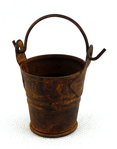 Aged Tin (Melody Jane Dolls Houses House Miniature 1:12 Accessory Aged Rusty Coloured Old Metal Tin Bucket)