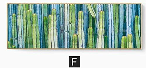 - Green Energetic Tropical Plant Different Leaves Simple Modern Nordic Canvas Art Poster Pictures Nordic Paintings Home Wall Decor,60x120cm 16x60in,F