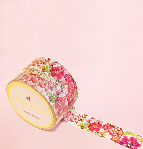 Tropical Vintage Floral Washi Tape for Planning • Scrapbooking • Arts Crafts • Office • Party Supplies • Gift Wrapping • Colorful Decorative • Masking…
