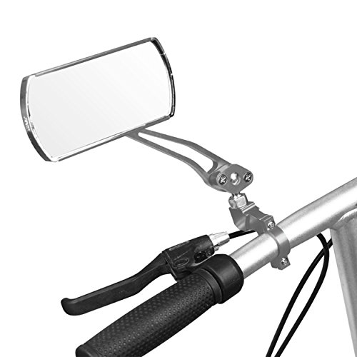 IZTOSS 1 pair Aluminum Bike Mirror Mountain Bicycle Rearview Handlebar End Rear View-Silver