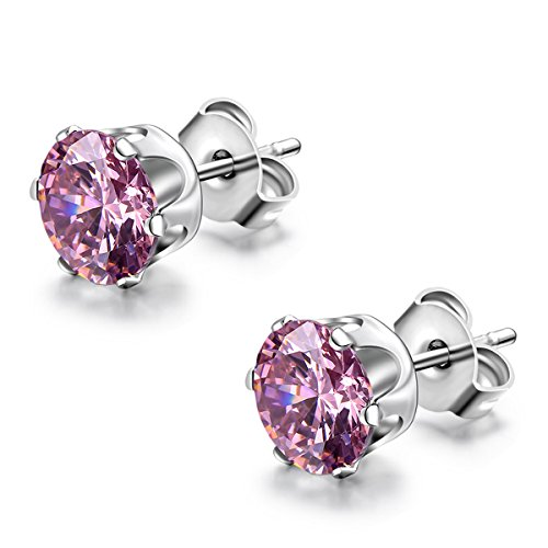 Flongo Round Zirconia Stainless Earrings