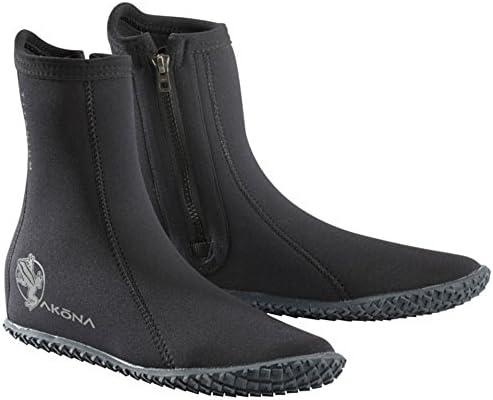 Akona 3.5mm 標準ナイロンラバーソールサイドジップブーツ(ブラック、メンズ13/レディース14)